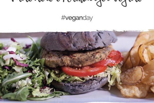 pane nero e hamburger vegano